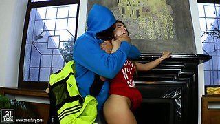 Brutal guy with big dick bangs Roxy Bell in the butt hole