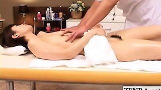 Subtitled pale Japan short hair milf erotic oil massage