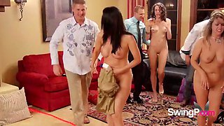 Chubby blonde dude takes his wife to swinger&#39s party