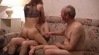 Horny Teen Fucks Her Boyfriend and His Father's Old Cock In Threesome