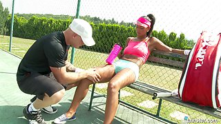 When the tennis lesson is over he fucks her on the court