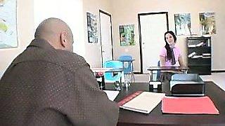 Sensual brunette vixen welcomes her teacher to having sex