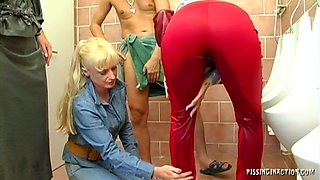 Mature babes got horny sucked the dick and were pissed in a bathroom.