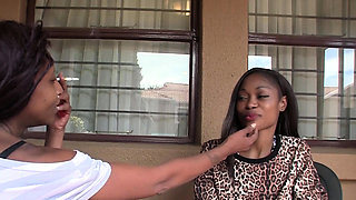 African Lesbians Licking Shaved Pussies in Shower
