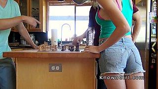 Cheating girlfriend sucks cock in kitchen