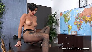 Kinky teacher Gabrielle Gucci is fucking her pussy with her dildo on cam