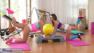 Fitness Rooms Stunning sweaty lesbians with hot bodies fuck each other