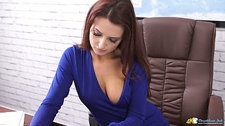 Fabulous office secretary gonna mesmerize you with her sexy cleverage