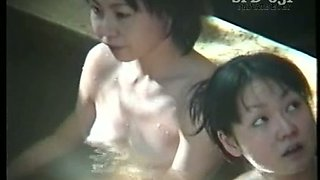 Amateur bathing Japanese brunette ladies is caught on spy cam