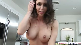 pov - milf jessica jaymes fucks a fat cock in a kitchen and eats jizz
