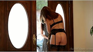 Swinger wife watches her curvy girlfriend fondling her hubby