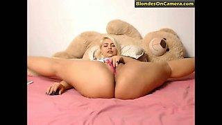 Flexible blonde woman