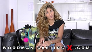 Tattooed black chick goes to her first porn casting