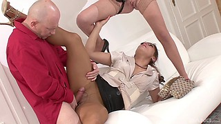 Bald guy happily penetrates the pussies of two glamorous babes