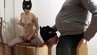 Two Masked Sluts Are Better Than One: Submissive Threesome Facial Abuse