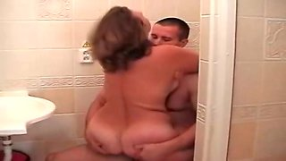 Russian Mature and guy Bathroom