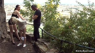 Skinny euro slut spanked outdoor in public