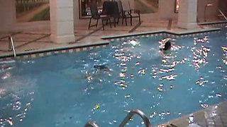 Skinny dipping dare teen makes out with lesbian after steam bath