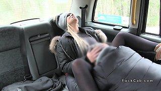 Huge tits blonde in cap bangs in cab