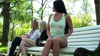 Stunning brunette teen babe in the park flashes pussy and tits