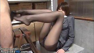 Japanese secretary pantyhose secret footjob