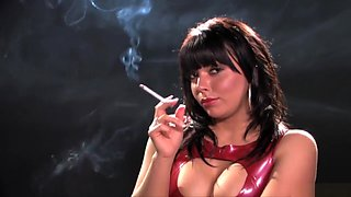ES Charlotte Hurding Smoking With Red Latex Dress