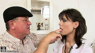 Old perve seduced sexy nurse so he eats her tasty cherry dry