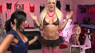 Romana and Cindy suck and fuck a lucky stud in a sex shop