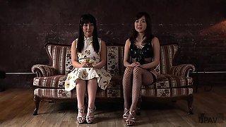 Kinky guy has two sweet Asian girls satisfying his needs