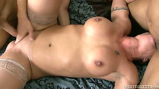 Amazing interracial gangbang video with a fake-boobed brunette