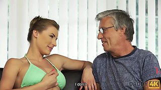 Mature gentleman enjoys forbidden sex with young hottie