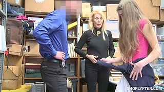 Kinky cop punishes mommy Samantha Hayes and her step daughter in the back room