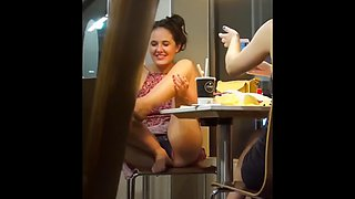 Late nite eatery upskirt flashing (she knew i was filming)