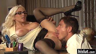 blonde secretary fucks with her boss