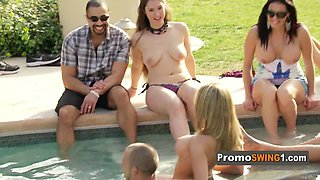 Unexpectant wife is nervous to be at the swingers mansion