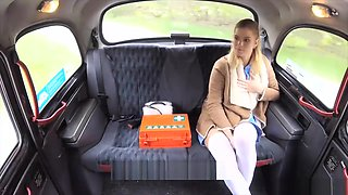 Blonde Nurse In Sexy Lingerie Gets Fucked Hard In A Cab