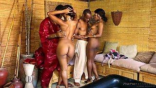 Wonderful black hottie Skyler Nicole massages lewd African shaman's strong cock