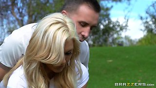 Sexy Blonde Babe Enjoying A Hardcore Cowgirl Style Fuck On A Golf Course