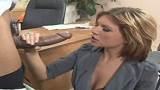 Business babe orally worships his BBC before they fuck