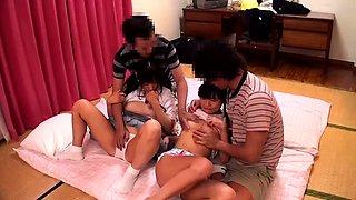 Sweet Japanese schoolgirls enjoying wild sex with older boys