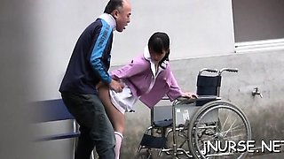 Stunning japanese nurse plays with toys on a large schlong