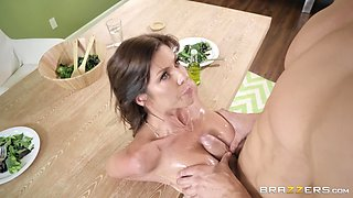 Dinner party turns into a hardcore fuck with a cumshot for Alexis Fawx