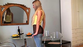 Hot blonde girlfriend wears nothing under her pantyhose