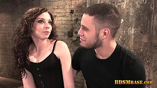 Mistress Clamps His Nipples at Casting
