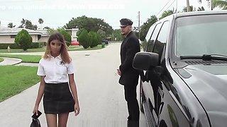 Petite schoolgirl fucks personal driver