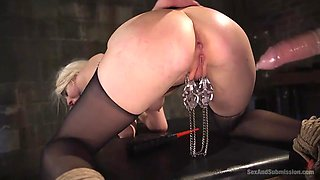 ball gagged beauty lorelei has her ass and pussy tested