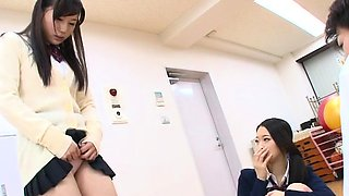 Oriental schoolgirl undresses naked and gets fisted