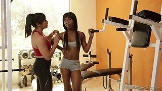 Asian fitness instructor Mia Li enjoys fucking ebony girl at the gym