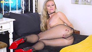 British blonde in her pantyhose
