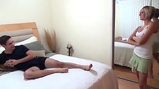 Young sister Helps brother In Erection
